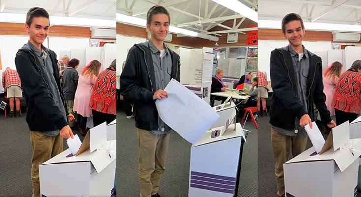 Pholi-Harris from Bundabah casts his ballot on his 18th Birthday.