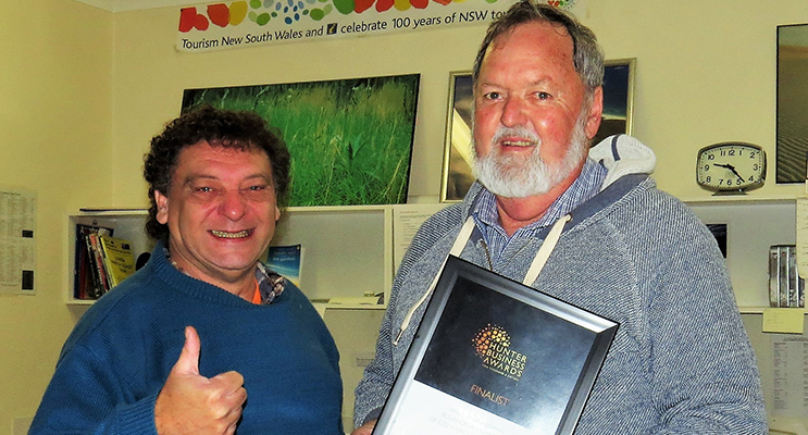 FINALIST: Bulahdelah Chamber of Commerce and Tourism President John Sahyoun and Vice-President Kevin Carter.