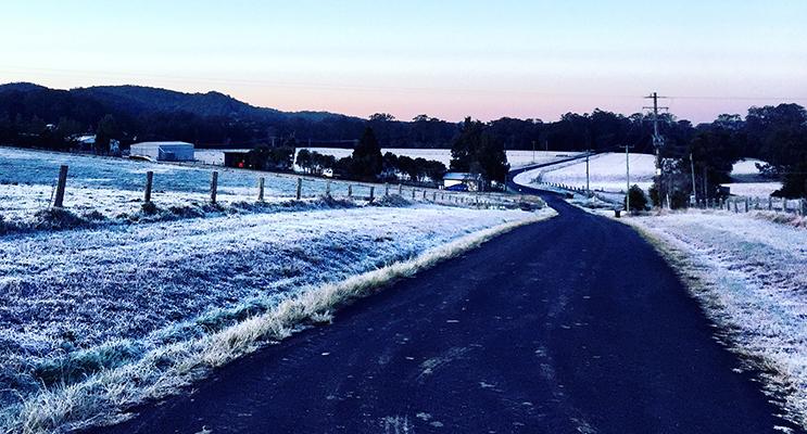 FROSTY FIELDS: Mills Creek Road in Stroud on Frosty Friday.  Photo: Denise Haynes