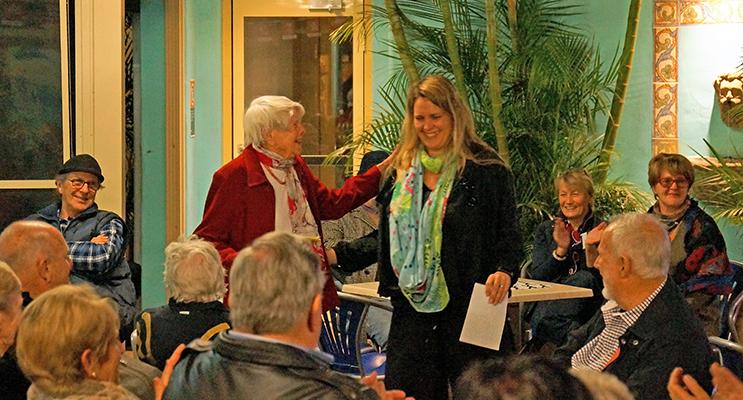AWARD: Pat Pritchard receiving her first prize from Judge Dr Waratah Lahy.