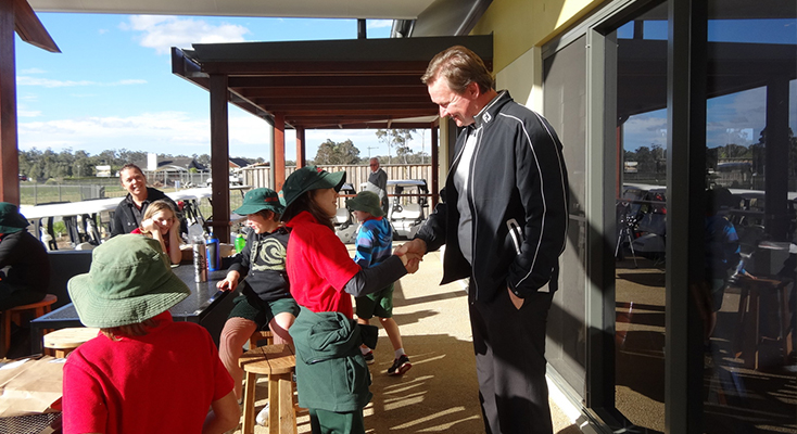 MEET PROS: Bobs Farm students meeting Pacific Dunes General Manager, Kurt Linde