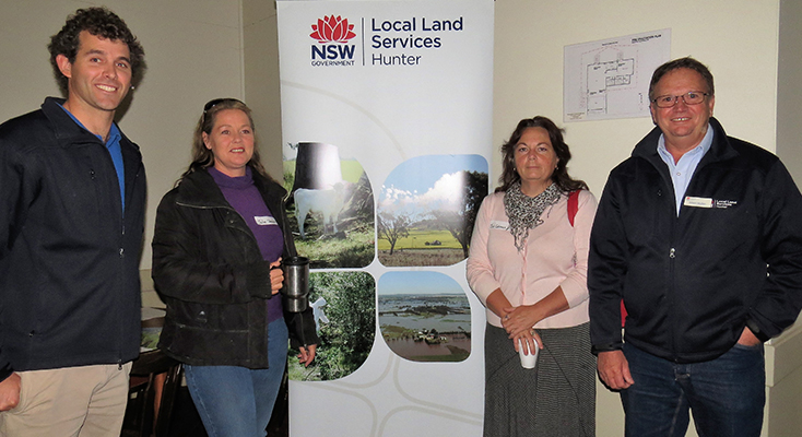 Land Services Officer Mitchell McGrath, Julie Steepe and Jo Coleman from Bulahdelah with Land Services Officer Albert Mullen.