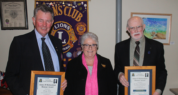 Past District Governor Kate Milford OAM presented two James D Richardson awards to Bart Huthnance and Doug Allen.