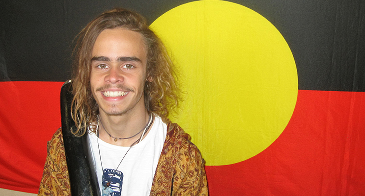 DIDGERIDOO: Talented performer Matthew Williams from Tea Gardens.