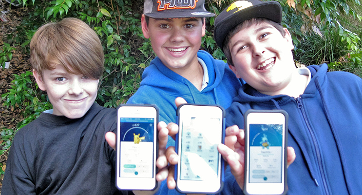 PLAYERS: Cooper Carloff from Pindimar, Jett Krohn from Tea Gardens and Brandon Price from Hawks Nest on the hunt for Pokémon's.