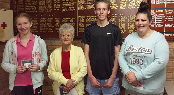 2nd Division winners Charlotte Rae, Del Montague, Caleb Grimshaw and Ashley Styles.
