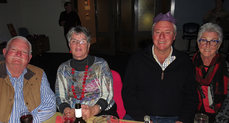 CHRISTMAS: Andrew and Robyn Moncrieff from Markwell and Ian and Leslie Howard from Bombah Point enjoy the festive fundraiser.