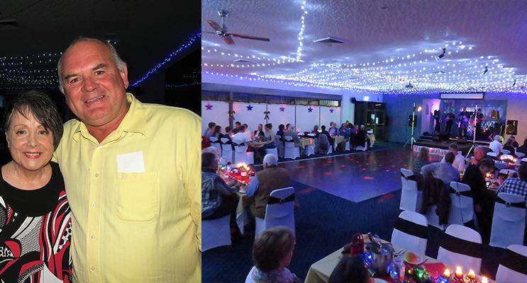 Olde Time Rock and Roll Singer Merryl Marsh and Bulahdelah Bowling Club Director Al Freihaut.
