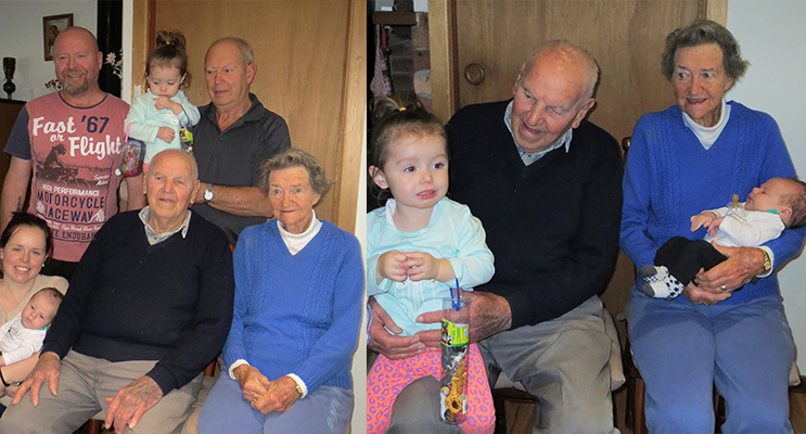 FIVE GENERATIONS: Jack and Thora Ireland, son Rodney, grandson Roderick, Great-granddaughter Tameeka, Great great-granddaughter Lamayah and great, great grandson Ashton. (left)FAMILY TIME: Jack and Thora Ireland with great, great grandchildren Lamayah and Ashton. (right)