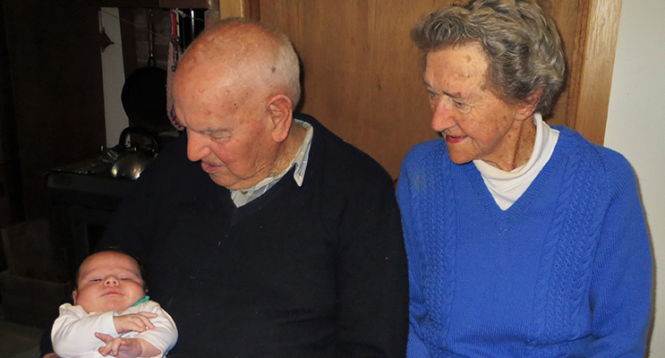 FAMILY: Jack and Thora Ireland with their great, great grandson Ashton.