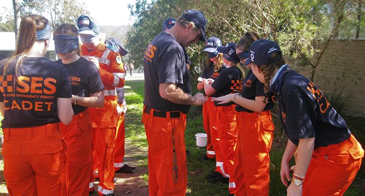 TEAMWORK: SES Cadets work through a team challenge.