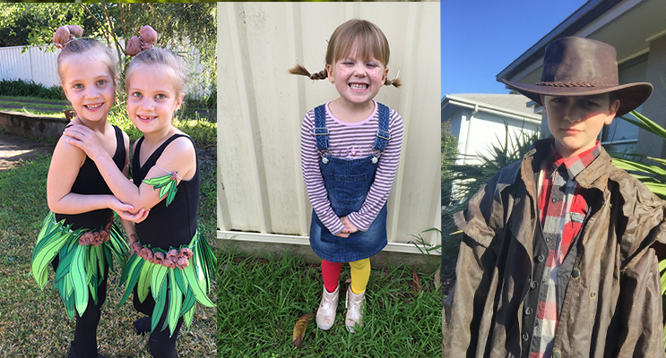 Lucy and Lyla Magnee as May Gibbs Gum nut babies(left) Avah Kitchen as Pippi Long Stockings(center) Hayden Reddon as the Man from Snowy River(right)