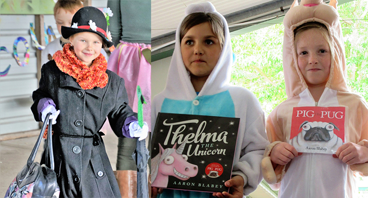 BOOK WEEK: Booral student Lync dressed as Mary Poppins. (left) AUSTRALIAN THEME: Delilah Newlin and Evie Braddick from Tea Gardens dressed as characters from Aaron Blabey books.(right)