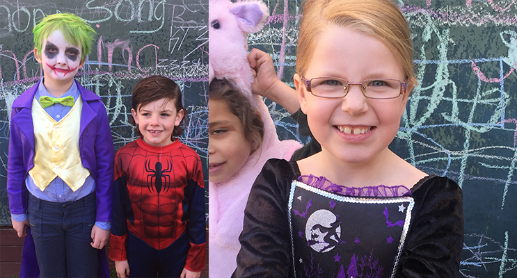 COSTUMES: Karuah Public School students dress as their favourite book character. (left) DRESS-UP: Karuah School student in costume for the parade. (right)
