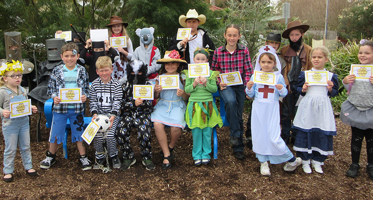 BOOK CHARACTERS: Tea Gardens students in costumes representing the Australian Book Week Theme.
