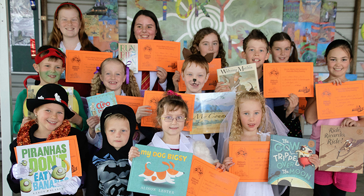 BOOK CHARACTERS: Booral Public School students in costumes for the Book Week Parade.