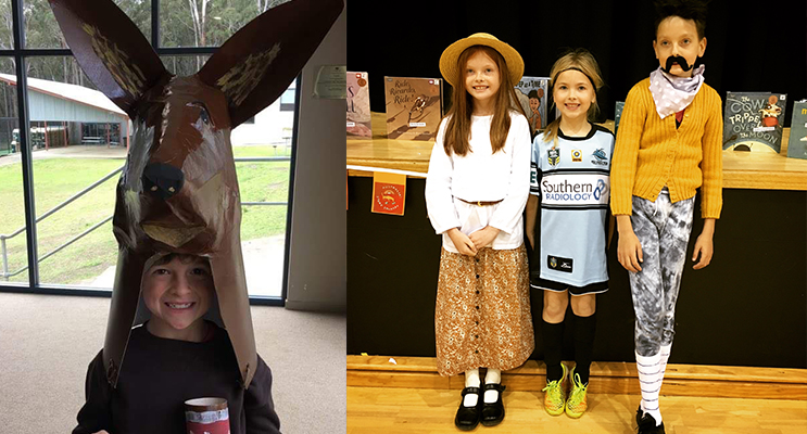 Joshua Lee from Medowie Christian School at dressed up. (left) Milla as Miranda from Picnic at Hanging Rock, Sadee as a Sharkies footy player (maybe this year for the NRL history books!), and Kaiis as Mulga Bill from Mulga Bill's Bicycle. (right)