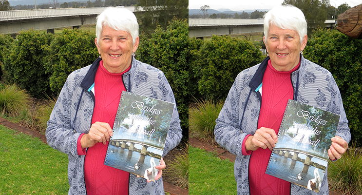 BRIDGES: Mrs Carolyn Burrows with her published book.
