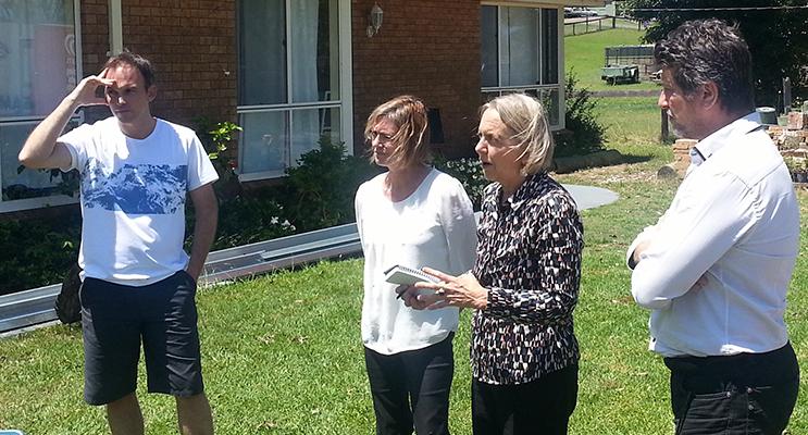 Senator Lee Rhiannon and Senate candidates Michael Osborne and Jane Oakley talk to Williamtown residents.