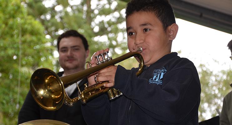 MUSIC: Tea Gardens student Sam Alchin plays the trumpet.