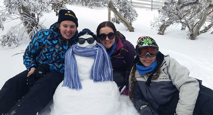 JINDABYNE: BCS Year 11 students Shae Finch, Boadi Luxon and Tamara Gooch enjoy the snow.