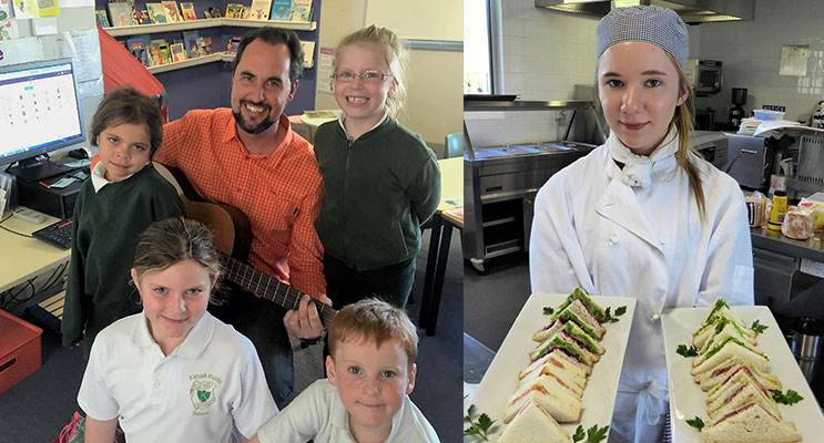 BETTER LEARNING: Karuah Public School students Katinka Saunders, Lucy Wright, Rachel Lilley and Harmon Walker performed 'Down by the Bay' taught to them by Mr Cline.(left)SHARED STORIES: BCS Hospitality student Katelyn Sibert shares her skills.(right)