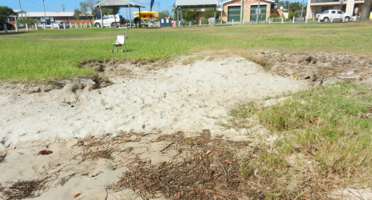 Some of the erosion currently seen along the Tea Gardens Waterfront.