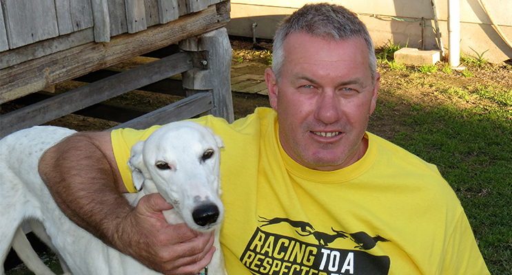 OWNER AND TRAINER: Mick Worth with his much-loved greyhound Bella.