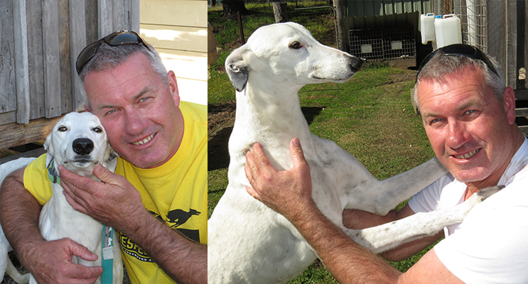 Mick Worth with his much-loved greyhound Bella.