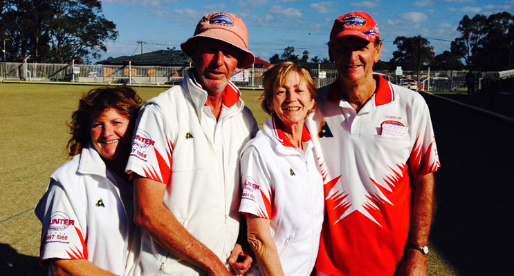 Runners up of the Karuah Mixed Pairs, Pam Cembala and Peter Joass with winners, Robyn and Gordon Latimore.