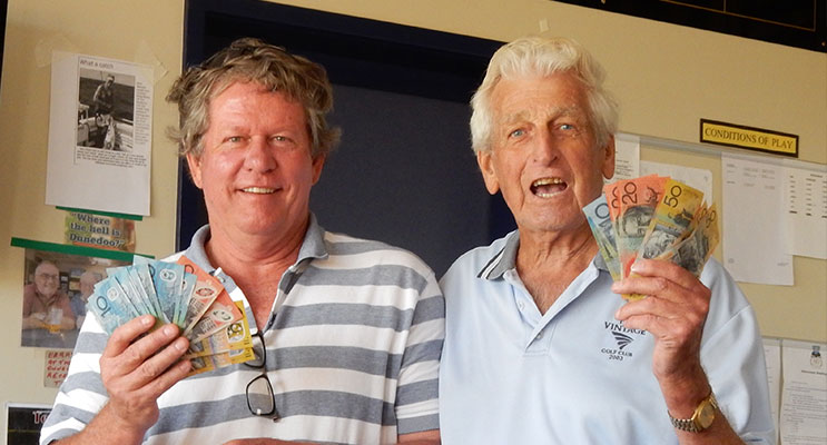 Mick Parker and Tom Parkinson. Winners of the Open Jackpot Pairs this week.