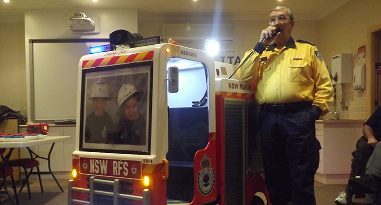 :   Bill Taylor, President of Medowie RFS and creator of 'Mighty Mike' Photo supplied by Medowie Rural Fire Service
