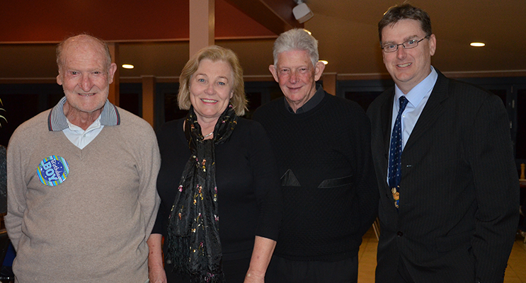CELEBRATION: Merv Nagle with Principals past and present Sue Estens, Daryl Martin and Mark Clemson