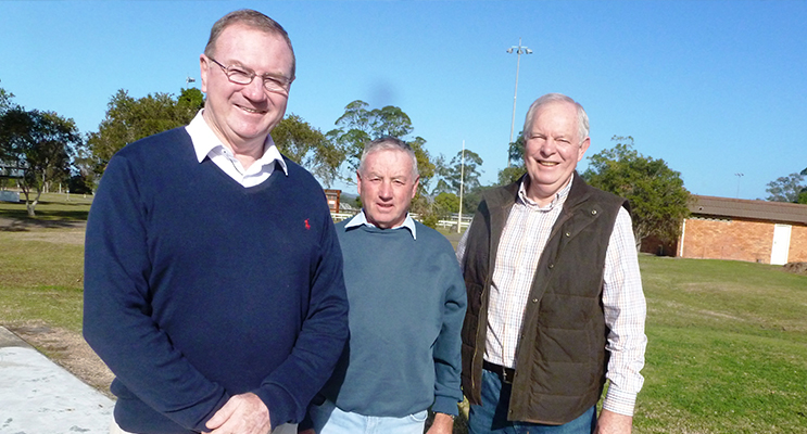 Member for Myall Lakes Stephen Bromhead joined Gary Gooch and Art Brown in Bulahdelah to announce over $26,000 in funds to supply and install a lighting tower and electrical wiring of cattle sheds at the Showgrounds.