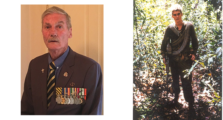 Brian Boughton during his time in Vietnam (right) and Brian Boughton today with his medals (left) Photos supplied by Justin Boughton