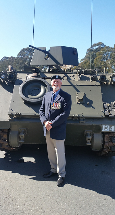 , Bruce Chapman of Tea Gardens with an APC which saw action at the battle of Long Tan Photos provided by Bruce and Jenni Chapman