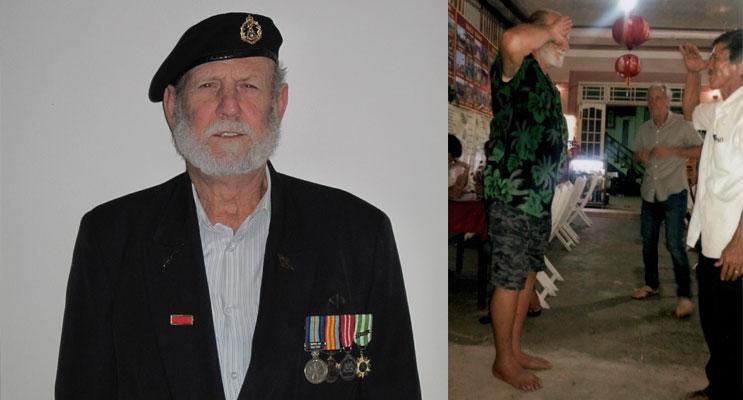 Jim Batt, wearing his Vietnam medals. (left)