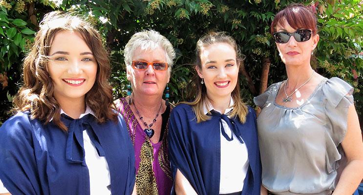 Twins Jordan and Cori-Lee Schmidt, mum Billie-Lee and Art teacher Mrs Sue Cross.