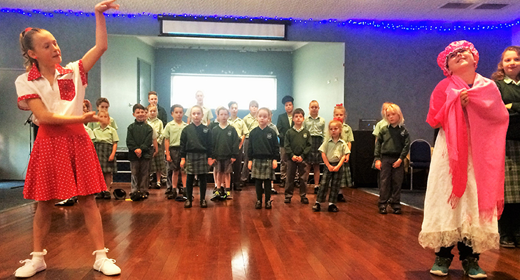 "PERFORMANCE: St Joseph's Primary School students perform ""Little Red Rocking Hood.""."