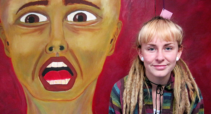"""OIL PASTELS: Charli Burns from Pindimar and her painting """"Fear of Oneself."""""""