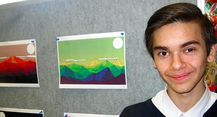 "GRAPHIC DESIGN: Noah Pholi-Harris from Bundabah with ""Mountain Scape."""