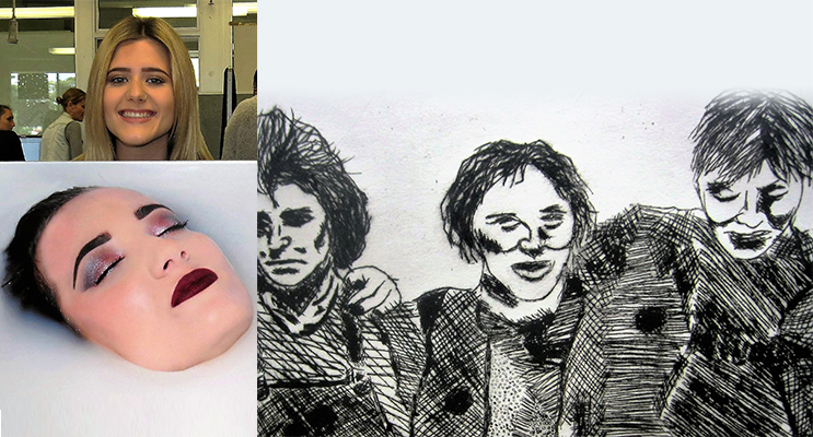 """PHOTO MEDIA: Olivia Bartley's work explores female beauty. (left) ETCHING: """"78 Is The New 69"""" by Kant Richardson. (right)"""