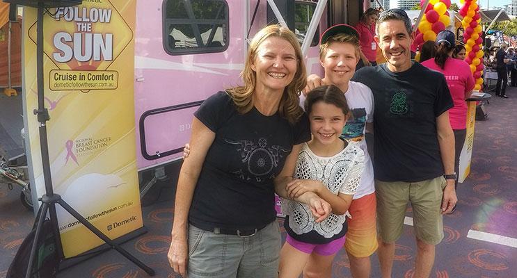 "KATE ""Adventure Mumma,"" husband Rob & children Josh & Charlie."