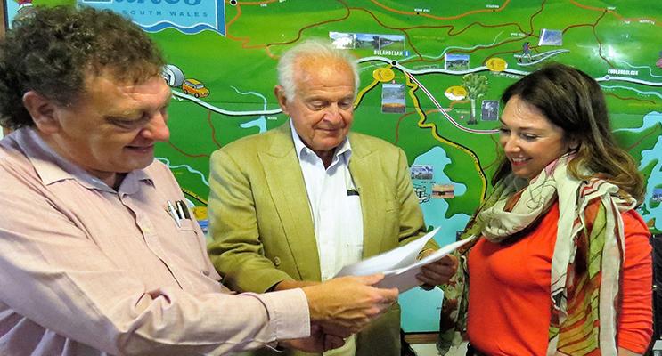 DEVELOPMENT: Bulahdelah Chamber of Commerce President John Sahyoun, Investor Peter Kampfner and Hamptons Property Services representative Mrs Kristy Hodgkinson.