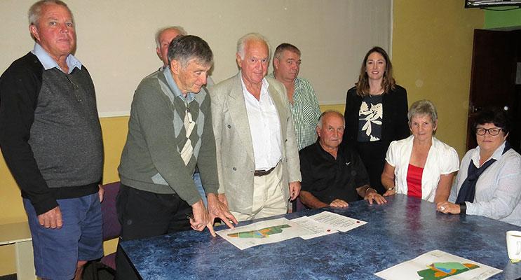 DEVELOPMENT: Peter Kampfner with members of Bulahdelah Golf Club.