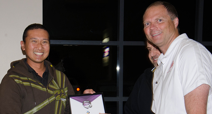 Phil Lavender (Left) Medowie Football Club coach and award recipient, with Ross Hicks (right) from Northern NSW Football, being presented with his award.