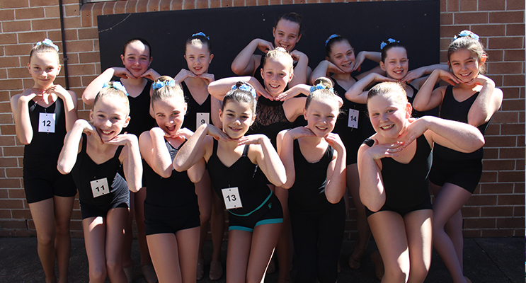 Bronze Star Jazz Groups combined – (Back row) Charlotte Dougherty, Isabella Moxey, Isabella McQualter, Olivia Lightfoot, Heidi Farley, Mikaela Neil, Kayla Bell, Amelia Atkins.  (Front) Kyara Darcy, Hilary Grainger, Keelie Perrett, Maddison Cunningham and Lilly Davidson.Photos by Dance N Dazzle