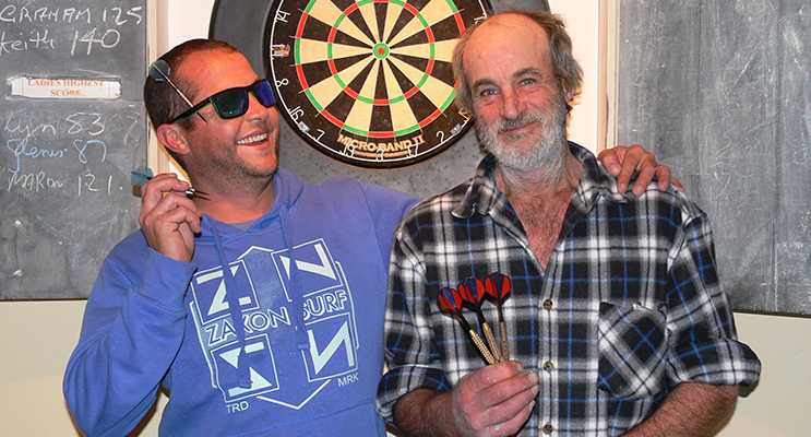 Mark Bowen celebrated his 40th birthday winning doubles with Robert Bartlett.