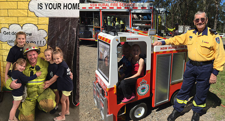 Deputy Captain Harrison Wright with Lexi, Lucy, Lyla and Avah outside the house fire smoke simulator.