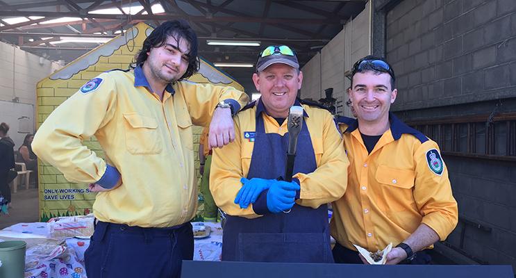 Brigade members Jess Cartledge, Matt Hogan and Steve Cutajar cooking the BBQ.